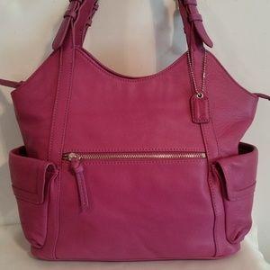 Clarks Women's Shoulder Leather Handbag- Purple